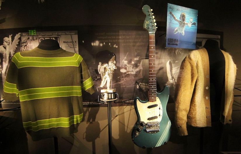 "Iconic and rare memorabilia of the late Kurt Cobain are on display at the ""Nirvana: Taking Punk to the Masses"" exhibit at the Experience Music Project in Seattle"